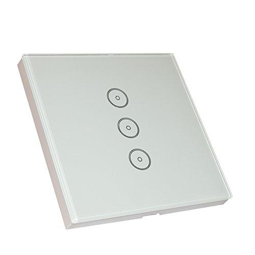 Mojocraft Interruptor inteligente de pared, inalámbrico, sensible al tacto, acabado de vidrio,...
