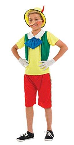 Halloweenia - Pinocchio Kinder Märchen Marionetten Kostüm, 116, Mehrfarbig (Marionette Kostüm Kleid)