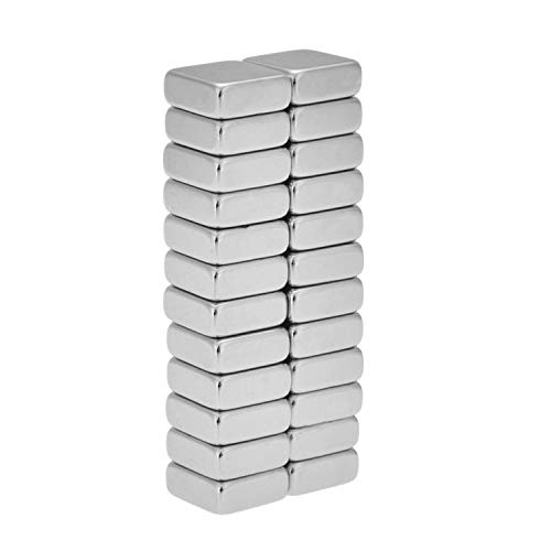 Willingood Neodym-Super-Magnete Würfel 10 x 10 x 4 mm [24 Stücke] Sehr starke Magnete für Glas-Magnetboards, Magnettafel, Whiteboard, Tafel, Pinnwand, Kühlschrank, und vieles mehr