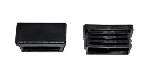 SN-TEC Rohrstopfen/Fußkappe / Pfostenkappe/Lamellenstopfen für Vierkantrohr, Farbe: Schwarz, 40x20mm (10 Stück)