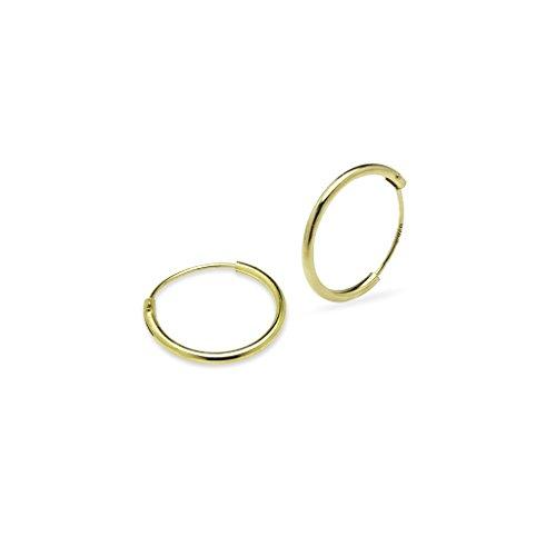 Una coppia set di 14mm tondo Sleeper sottile in argento Sterling 925orecchini a cerchio, Argento, colore: Yellow Gold Flash Sterling Silver, cod. SL-E-1007-Parent