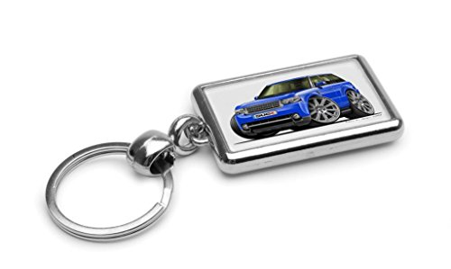 WickedArtz Cartoon Car Range Rover Vogue/Sport Blue Premium Metal Key Ring