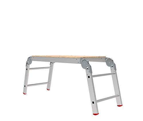 BRIKS Aluminium Leiter BR2420, Arbeitsplattform, Arbeitsbühne, Klappbar, Arbeitshöhe 58 cm, belastbar bis 150 kg, Silber - Klappbare Arbeitsplattform