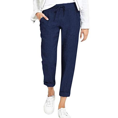 MOTOCO Damen Casual Baumwollhose Mit Tasche Strand Mode Einfarbig Krawatte Binden Lose Pluderhosen(2XL,Blau)