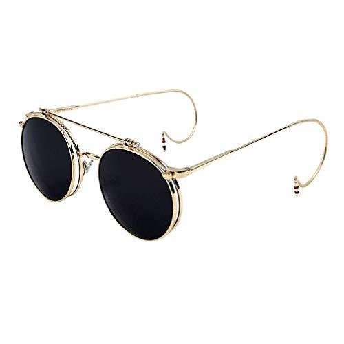 Tclothing Damen Klapp-Sonnenbrille Steampunk 70er Retro Stil Rund Herren Hochklappbare Gläser