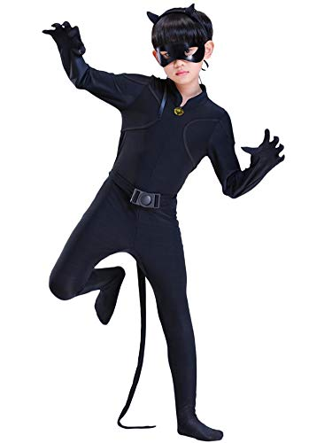Monissy Cartoon Miraculous Cat Noir Kostüm Junge Kinder Cosplay Jumpsuit Overall Karneval Halloween Weihnachten Party Geburtstag Geschenk Set Jumpsuit Augenmaske Ohr Gürtel Schwanz Schwarz 100-150cm