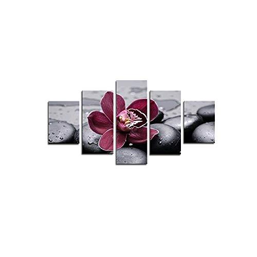 WLGOODWandbild Wandmalerei 5 Stück Schmetterling OrchideeGemälde Bilder Hd Print Bilderrahmen Wohnzimmer Wohnkultur