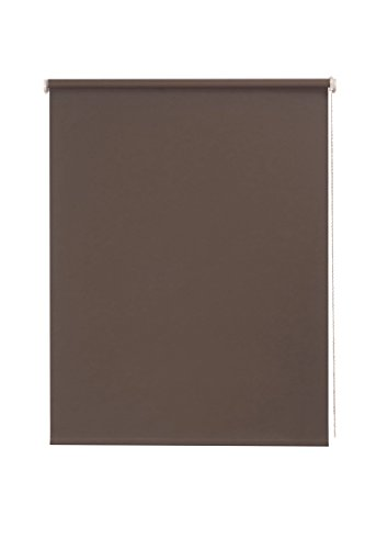 SUNL Ines Lado Estor Opaco, plástico, Tela, marrón/Blanco, 102 x 240 cm