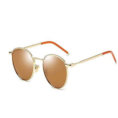 XHCP Frauen polarisierte Klassische Flieger-Sonnenbrille, polarisierte Sonnenbrille-Dame Retro Round Frame Sunglasses Driving Holiday Travel UV400-Schutz (Farbe: Gelb)