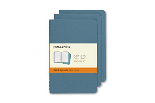 Moleskine 8058647629582 - Quaderno Cahier Pocket/A6, a righe, copertina in cartone, set da 3 pezzi, blu vivo