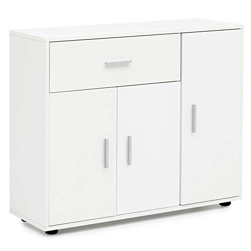 Tür 1 Schublade Konsole Schrank (FineBuy Sideboard 88 x 75 x 30 cm mit 3 Türen + 1 Schublade Weiß | Kommode | Anrichte | Highboard | Mehrzweckschrank | Büro Akten- Schrank für Ordner)