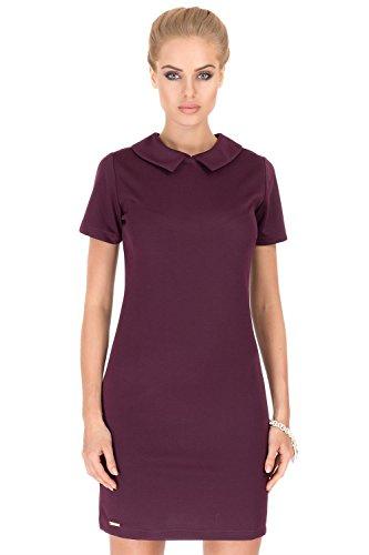 Kleid Minikleid Top mit Kragen in 5 Farben S M L XL Pflaume