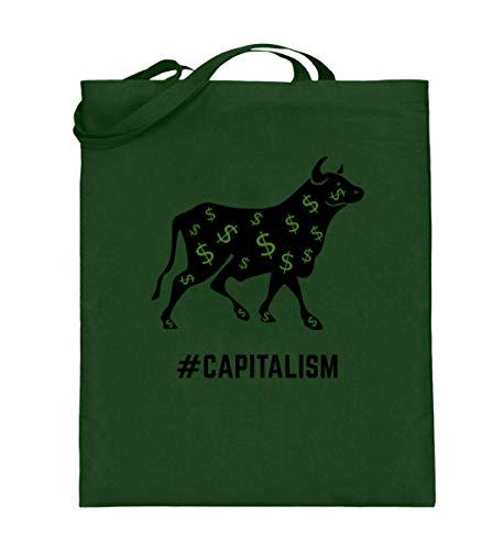 Finanzielle Freiheit ETF Kapitalismus Aktien Investieren Börse passives Einkommen Bulle - Jutebeutel (mit langen Henkeln) -38cm-42cm-Grün