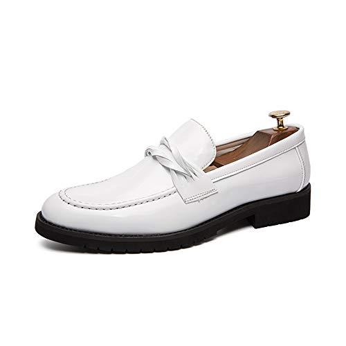Jingkeke Herren Slip-On Kleid Loafers Schuhe for Männer Casual Business Oxfords Persönlichkeit Strap Decor Kunstleder Gummisohle Ins Auge fallend Mode (Farbe : Weiß, Größe : 37 EU) -
