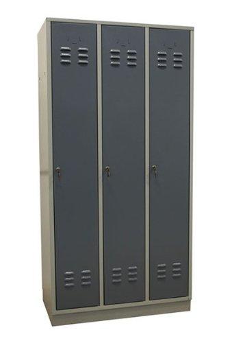 ADB Metall-Spind/Stahl-Umkleideschrank/Garderobenschrank 3-türig \'Regular\' RAL 7035/7001 lichtgrau/grau, aus Qualitäts-Stahlblech, Hergestellt in der EU