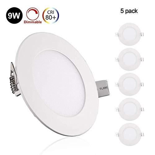 5er Greenclick 9W 12w LED Panel Weiß rund Spot Dimmbar Einbauleuchte,Einbaustrahler, extrem flach,720Lumen ersetzt 80W Leuchtstoffröhren LED Deckenleuchte(4000k, 9w Rund Panel)