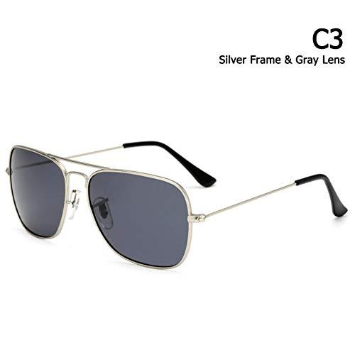 CCGSDJ Klassische Caravan Stil Polarisierte Quadratische Luftfahrt Sonnenbrillen Männer Vintage Retro Brand Design Sonnenbrille Oculos De Sol