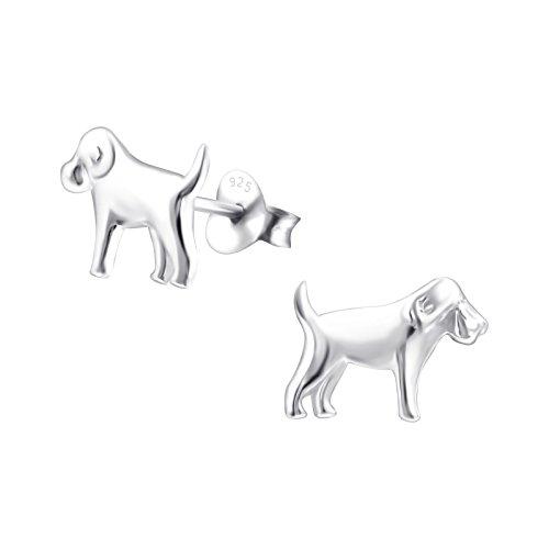 Hunde 2-stück Gepäck-set (925 Silber Hunde Ohrringe Terrier, Retriever, Muensterlaender, Dogge, Beagle, Bracke, Setter, von Monkimau, Kinder-Schmuck, Sterling Silber, Damen, Frauen, Mädchen-Ohrstecker (Silber))
