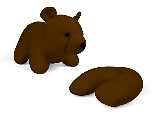 Zip & Flip Kissen Bär braun - Kuscheltier und Nackenhörnchen -