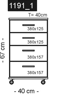 1191 -1 – Rollcontainer in mehreren Farben