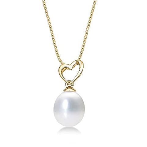 Pearl Drop Pendant Necklace with Single 8-8.5mm White Freshwater Pearl and Tilting Heart set in Luxurious 9K Yellow Gold