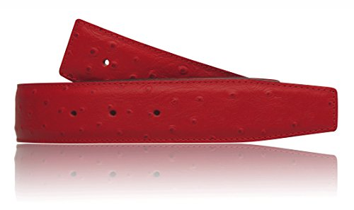 Straussenleder Optikin in Rot echt Leder Wendegürtel für Herren & Damen 31mm Breit Gürtel Ledergürtel (34