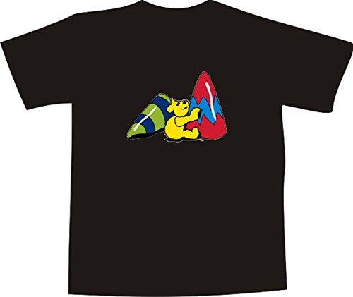 T-Shirt E781 Schönes T-Shirt mit farbigem Brustaufdruck - Logo / Grafik - Comic Design - lustiger kleiner Goldbär mit bunten Hütchen Schwarz