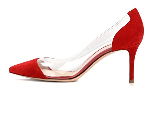 EDEFS Scarpe col Tacco Donna,Trasparente Scarpe,Cap-toe PVC Scarpe col Tacco Rosso