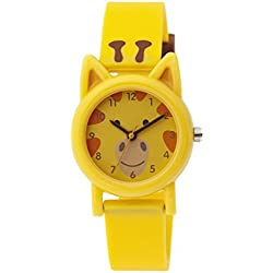 Tikkers Unisex Quartz Watch with Yellow Dial Analogue Display and Yellow Silicone Strap TK0086