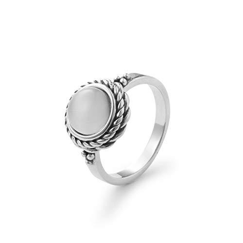 Beydodo Damen Ringe Silber 925 Rund Opal Trauring Partner Ring Silber Gr.52 (16.6) - Stilo Opal Matt