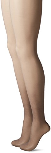 L'eggs Women's Silken Mist 2 Pair Control Top Silky Sheer Leg Panty Hose,Black (Silky Top Control Sheer)