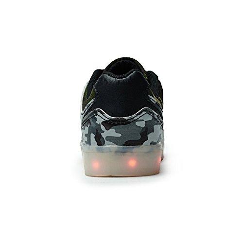 DoGeek LED Schuhe Kinder Damen 7 Farbe USB Aufladen Leuchtend Sportschuhe Led Kinder Farbwechsel Sneaker Turnschuhe für Herren Damen Braun1