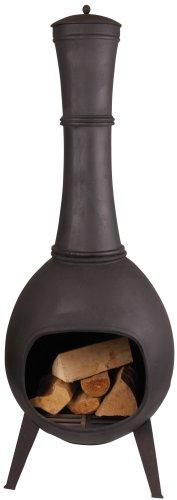 Esschert Design Terrassenofen, 150 cm L, schwarz, 53x53x144 cm, FF65