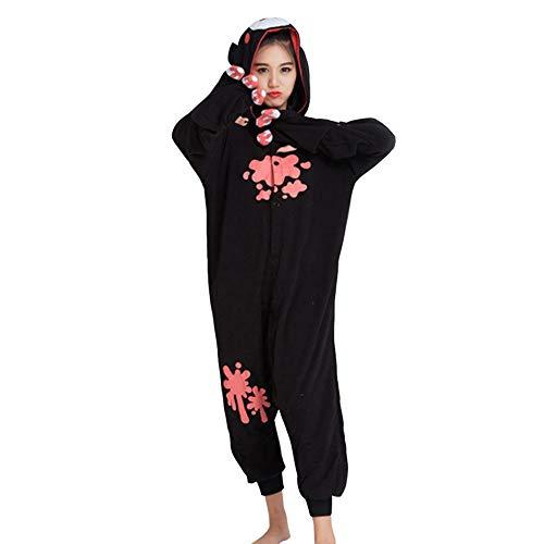 LPATTERN Erwachsene Damen/Herren Cartoon Kostüm- Jumpsuit Overall Schlafanzug Pyjamas Einteiler, Schwarz Gewaltiger Bär, M für Körpergröße 158-168CM