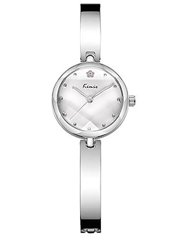 Alienwork Quartz Watch bracelet chain warp Wristwatch elegant stylish Metal white silver YH.K6211S-01