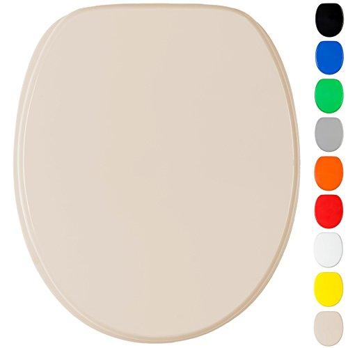 WC Sitz mit Absenkautomatik, viele einfarbige WC Sitze zur Auswahl, hochwertige und stabile Qualität aus Holz (Beige)