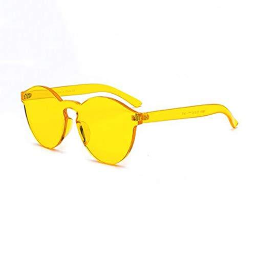 YIWU Brillen Randlos transparent rundes Gesicht Netz rot Damen Sonnenbrille Chaohan Retro Harajuku Stil Street Beat Concave Form gelbe Sonnenbrille Brillen & Zubehör (Color : 1)