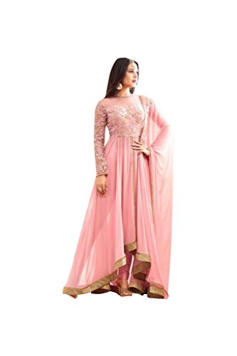 pinke Farbe Bridal Wedding Dress Gown Designer Brautkleid Brautkleid bereit, Größe 32-46 Bollywood Party Wear Dress Ethnic Bridal Heavy Designer Women Indian Anarkali Salwar Kameez suit 323 (Lace Bluse Georgette)