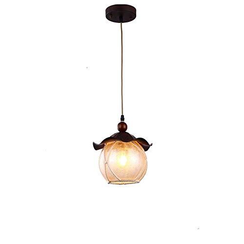QTRT Globe Shade American Farmhouse Pendelleuchte Eisen Metall Holz Retro Vintage hängende Leuchte rustikale Küche Insel E27 Edison verstellbare Decke Anhänger Beleuchtung Laterne