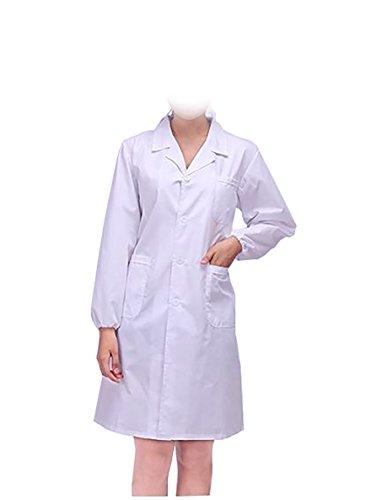 WDF laborkittel kittel medizinische kittel weiß arztkittel weiße damen langärmelige lange unterabschnitt elastizität handschellen (Krankenschwester-uniform-schuhe)