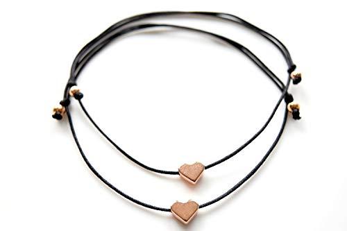 2 Freundschaftsarmbänder rosegoldenes Herz mit Perlen in deiner Wunschfarbe! Band China