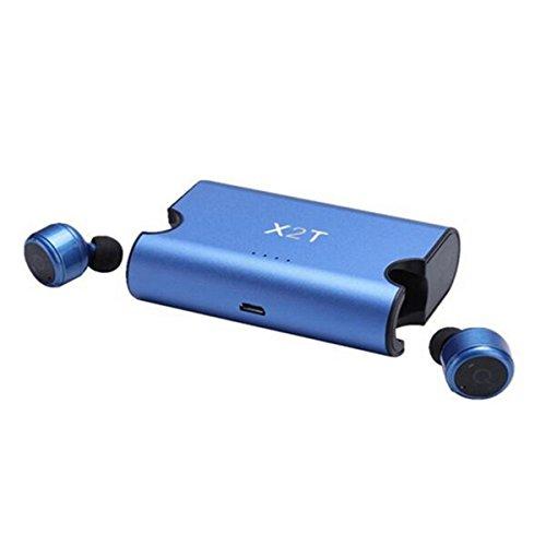 SETAYO X2T Mini Invisible Verdaderamente inalámbrico Bluetooth V4.2 sonido envolvente estéreo Auriculares In-Ear con caja de carga 1500mAh- Azul