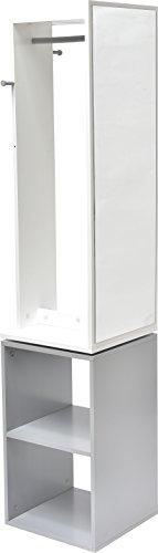 Mobile a colonna girevole per il bagno - 1 guardaroba + 1 specchio + 2 scomparti + 2 ganci - colore: bianco e grigio