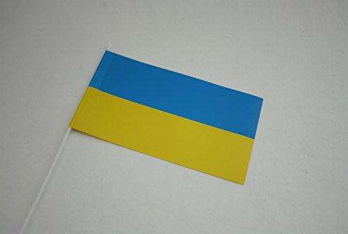 50 Stück PAPIERFAHNEN mit Stab - UKRAINE - Fußball EM 2016 Party Event Winkelemente Fähnchen blau gelb