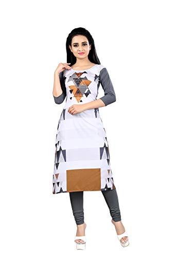 Hirva collections Woman\'s Printed Straight Cut Crepe Kurti