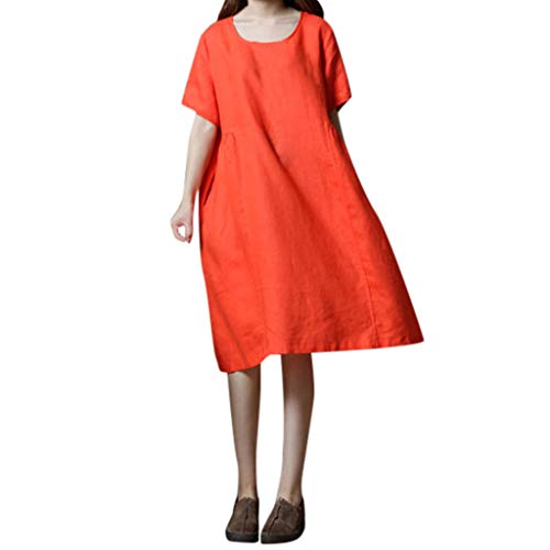 OIKAY Sommer Kleider Damen Shirtkleid blaues Kleid Casual Langes Shirt Lose Tunika Kurzarm T-Shirt Kleid