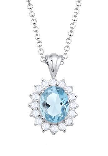 Elli Damen-Halskette mit Anhänger Edelsteine Glamour Elegant silber 925 Topas blau - 45cm Länge
