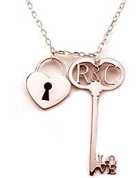 74df7169aa22 Silver   Steel - Colgante Llave con candado de corazón Plata Oro Rosa ...