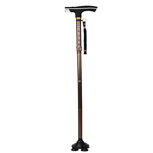 Cw0607 canne regolabili portatili pieghevoli bastoni da passeggio a quattro zampe con luce a led per interni ed esterni per gli anziani,brown