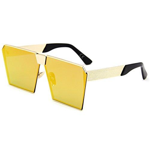 AMZTM Platz Verspiegelt Linsen überdimensioniert Polarisiert Orange Metall Sonnenbrille für Damen und Herren (orange, 63)